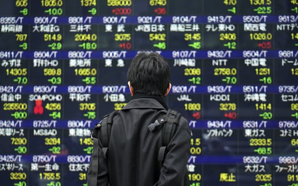 A man looks at an electronic stock board at a securities firm in Tokyo Friday, Jan. 15, 2021. Asian shares fell Friday after a worse-than-expected U.S. jobs report and a late slide in several Big Tech stocks left major indexes lower on Wall Street. (AP Photo/Eugene Hoshiko)