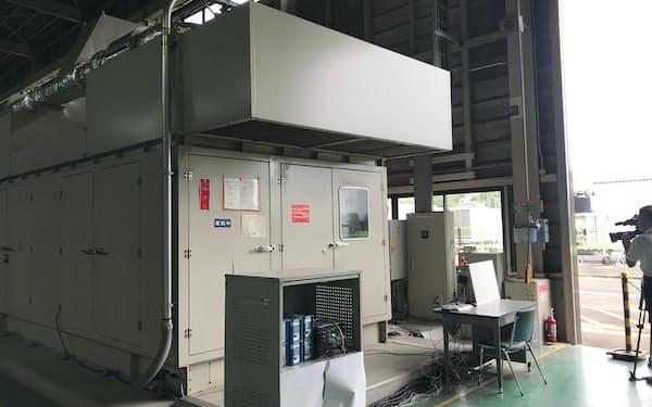 水素を混ぜての運転に成功した東邦ガスのガスエンジン(愛知県東海市)