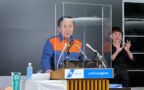 神奈川県の黒岩祐治知事は医療体制などを説明した(26日、県庁)