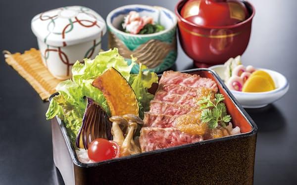 日本料理店で選べる対象メニューの「和牛ステーキ重」