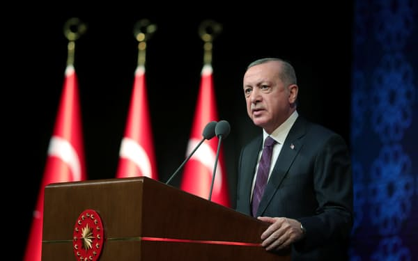 Turkish President Tayyip Erdogan speaks during a meeting to unveil the Human Rights Action Plan?in Ankara, Turkey March 2, 2021. Presidential Press Office/Handout via REUTERS ATTENTION EDITORS - THIS PICTURE WAS PROVIDED BY A THIRD PARTY. NO RESALES. NO ARCHIVE.