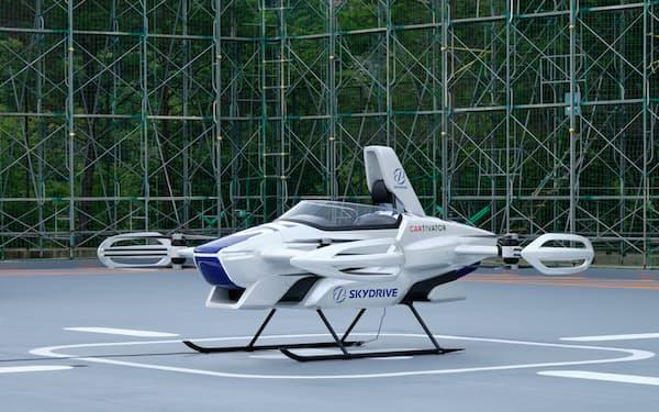 大阪の湾岸エリアでの「空飛ぶクルマ」の実現に向けて5社が連携する(展示予定の機体)