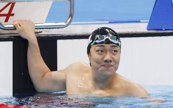 男子100メートル平泳ぎ(知的障害)決勝 世界新で優勝した山口尚秀=共同