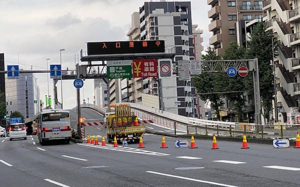 五輪期間中、首都高の入り口が各地で閉鎖された