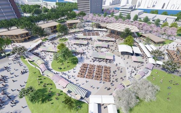旧広島市民球場跡地はイベント広場に