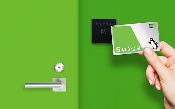 交通系ICカードを鍵としてオフィスやホテルの入退室ができる(JR東日本提供)