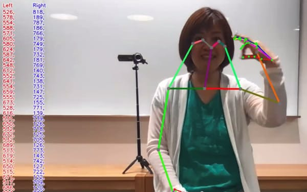 AIが腕や指の動作を追跡し、手話の特徴を抽出して日本語に翻訳する
