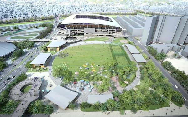 サッカースタジアム隣接広場のイメージ