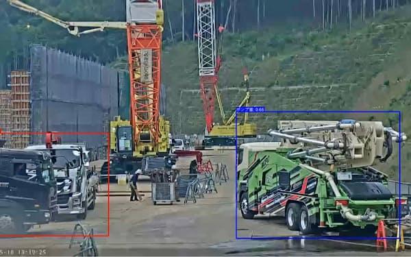 大成建設は建設現場のCO2排出量をAIで算定する(写真は開発中のシステムの画面)