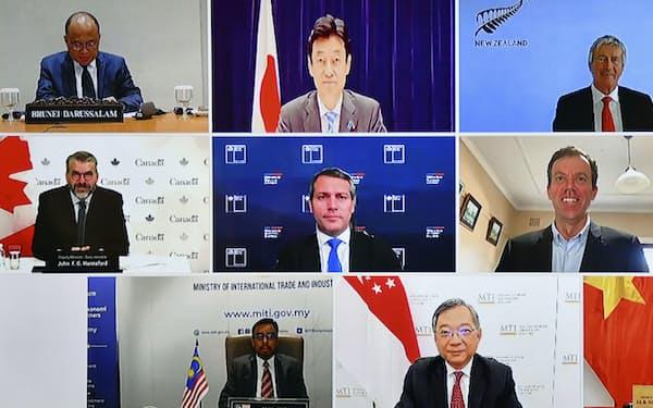 テレビ会議形式で開いた「TPP委員会」の会合(1日)=共同