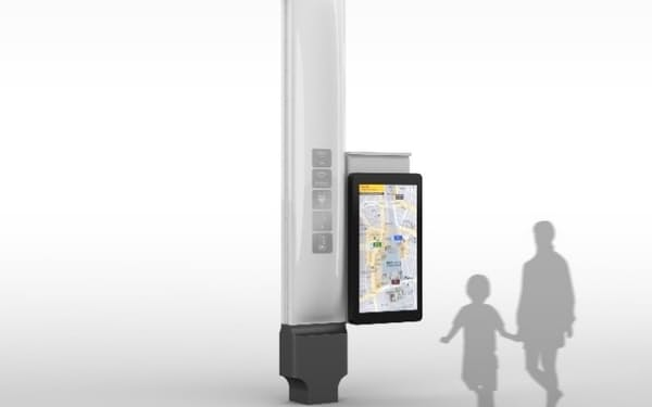 スマートポールには給電や非常用バッテリー機能のほか、AIカメラや環境センサーを付ける