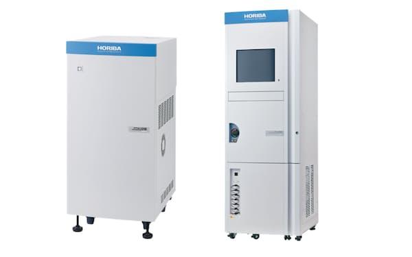 堀場製作所が発売した排ガス測定装置。左が「希釈測定」、右が「ダイレクト測定」に対応する
