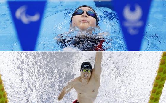 女子50メートル背泳ぎ(運動機能障害S2)で銀メダルを獲得した山田美幸(写真上)と男子50メートル自由形(運動機能障害S4)で銀メダルを獲得した鈴木孝幸=共同