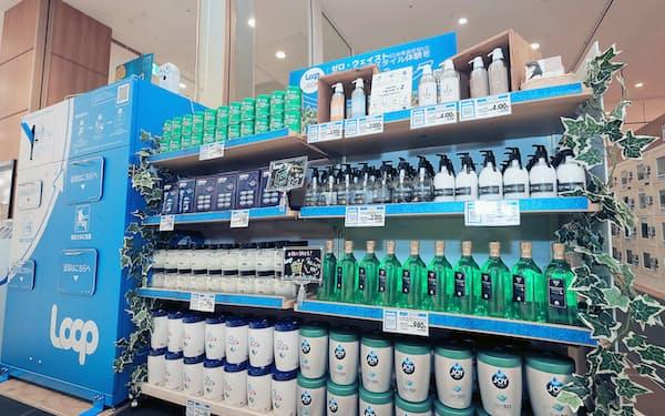 これまで消費者向けに展開していた容器再利用システムを業務用に広げる(5月、千葉市のイオンスタイル幕張新都心)