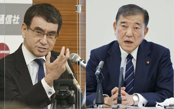 日本経済新聞の世論調査では「次の自民党総裁にふさわしい人」で河野氏が首位、石破氏が2位だった=共同