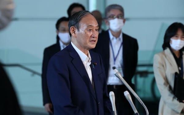 自民党総裁選への不出馬を明らかにした菅首相(3日、首相官邸)