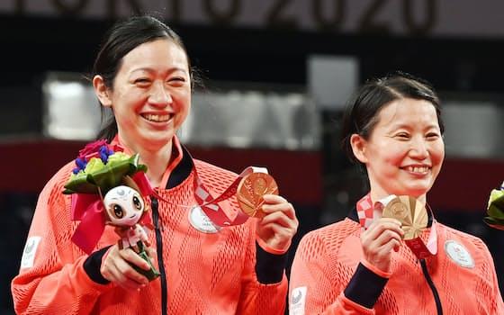 銅メダルを掲げてみせる伊藤(右)と鈴木=藤井凱撮影