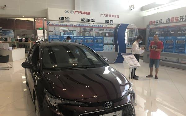 トヨタ自動車の8月の中国新車販売は2カ月ぶりに前年実績を下回った(広東省広州市の販売店)