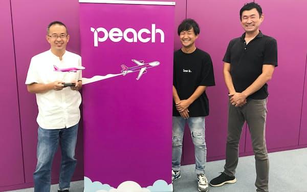 機内サービスの開発を手掛けた主なメンバー。左から平井さん、栢原さん、前野さん
