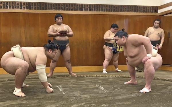 稽古する正代=手前右(6日、東京都墨田区の時津風部屋)=日本相撲協会提供・共同