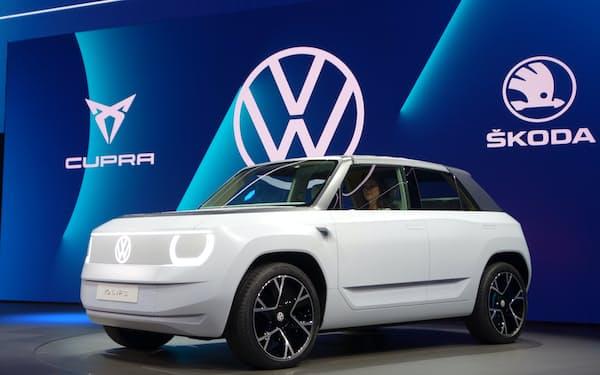 VWが25年に発売する小型EV「ID.ライフ」(6日、ミュンヘン国際自動車ショー)