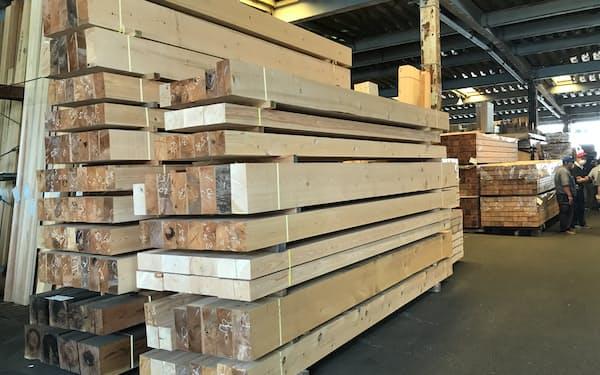 ヒノキの構造材は高止まりしている(関東の木材市場)
