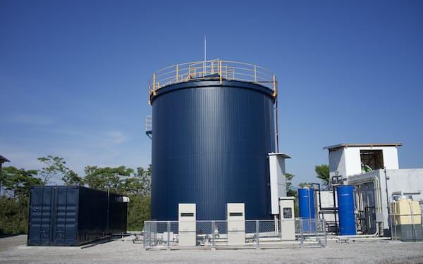 実証実験をする本部農場(宮崎県新富町)に設置しているバイオガスプラント