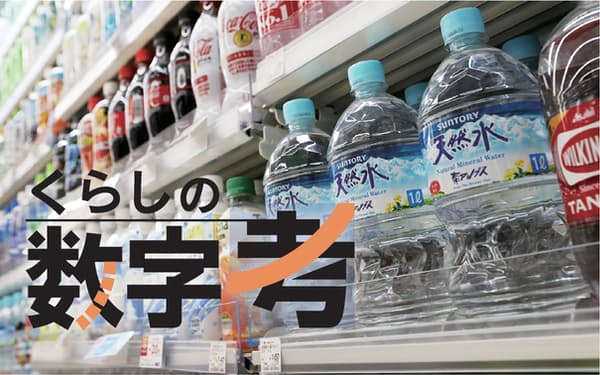 ペットボトルが登場したのは約40年前。今では小型サイズから1リットル、2リットルまで様々な商品が売られている(東京都内のローソン)