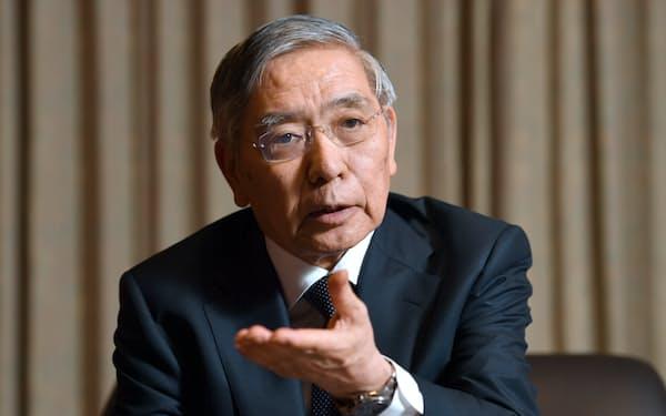 インタビューに答える日銀の黒田総裁(写真は2019年9月)