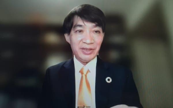 8日、オンライン形式で記者会見する日本郵便常務執行役員の目時政彦氏