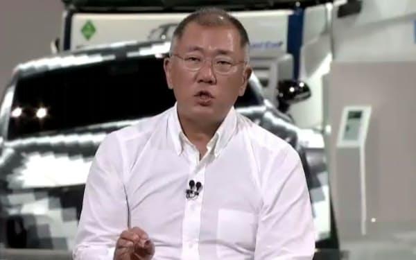 現代自の鄭義宣会長は水素社会実現を経営目標に定めた(7日のオンライン記者会見)