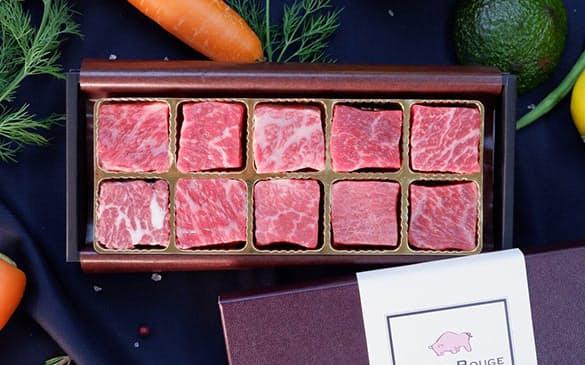 あか牛の希少部位10種類をサイコロステーキ状にした食べ比べギフトを開発