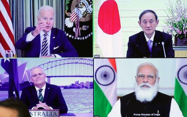 3月にオンラインで開催された日米豪印の首脳協議