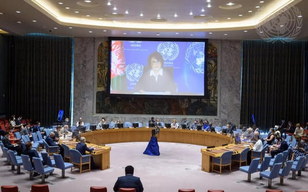 オンラインで会合に出席した国連アフガニスタン支援団(UNAMA)のデボラ・ライオンズ代表=国連提供