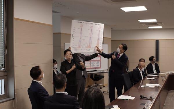 佐賀県の山口祥義知事は改めて、感染予防の徹底を呼びかけた(右から4人目、10日、県庁)