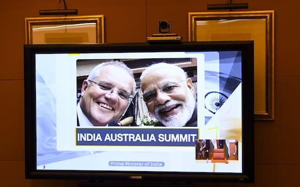 印豪は昨年6月にはオンラインで首脳会談を開催=AAP