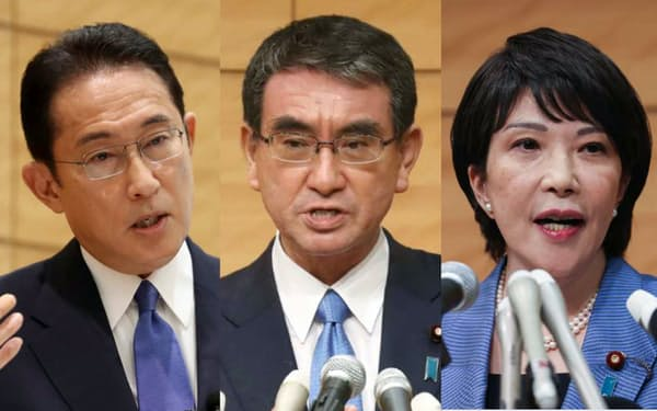 自民党総裁選への出馬を表明した(左から)岸田氏、河野氏、高市氏