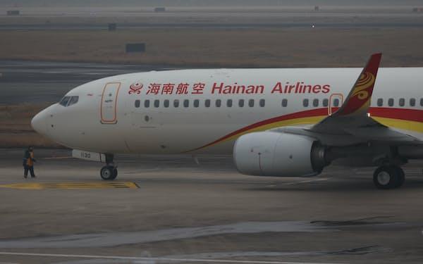 海南航空の機体(2021年2月4日、中国湖南省)