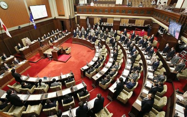 大阪府議会では議員定数の削減が焦点となりそうだ(2021年3月)
