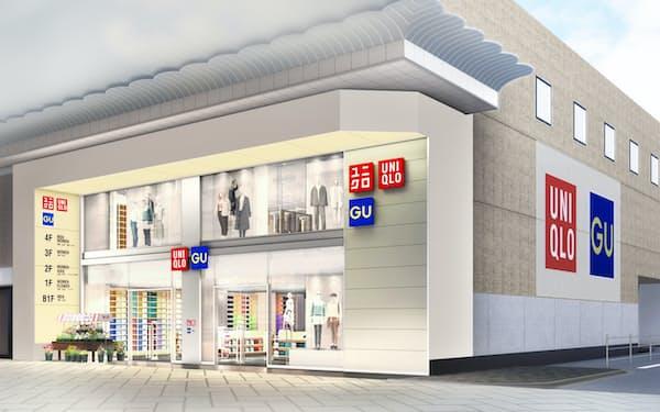 新しいユニクロ心斎橋店はGUとの一体型の店舗となる