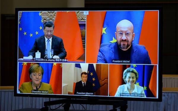 EUと中国の関係はこのところ悪化している(20年12月のオンライン首脳会談)=ロイター