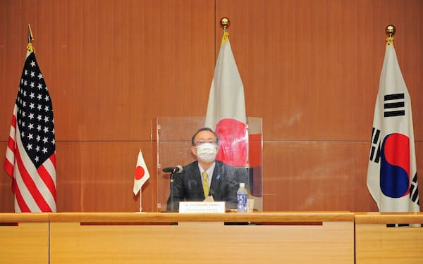 Takehiro Funakoshi, Director-General of the Asian and Oceanian Affairs Bureau at Japan's Foreign Ministry, attends a trilateral meeting between Japan, U.S., and South Korea, to discuss North Korea, in Tokyo, Japan, September 14, 2021. David Mareuil/Pool via REUTERS