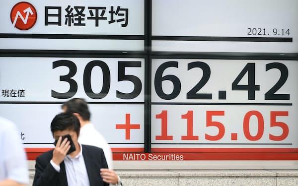 日経平均株価を示すボード(14日午前、東京都中央区)