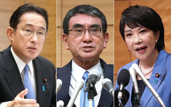 総裁選出馬を表明した高市(右)、河野(中央)、岸田(左)の3氏が争う構図に