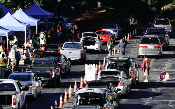 コロナ危機で失業者が急増。無料の食料を受け取るための車列ができた(米カリフォルニア州、2020年12月)=ロイター