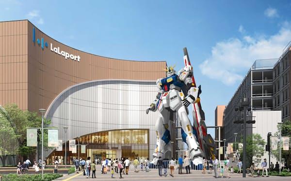 三井不動産グループの商業施設に「機動戦士ガンダム」の実物大立像を22年春に公開する(イメージ)