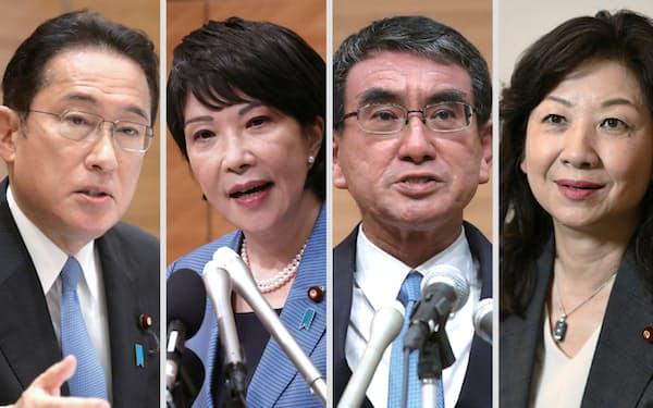 派閥ごとの議員数を積み上げる従来の票読みは難しくなっている(左から岸田氏、高市氏、河野氏、野田氏)