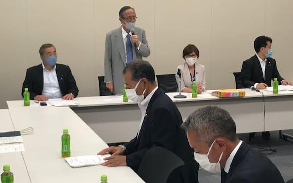 原子力発電所のリプレース(建て替え)を推進する自民党議員連盟が開いた会合(15日、国会内)