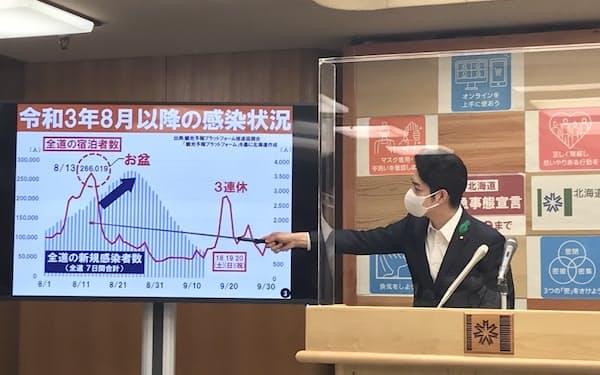 感染状況を説明する北海道の鈴木直道知事(14日、北海道庁)