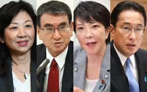 自民党総裁選に出馬する(右から)岸田文雄氏、高市早苗氏、河野太郎氏、野田聖子氏